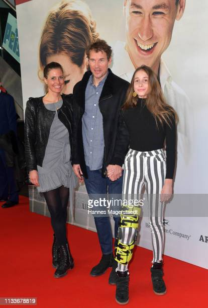 Jens Lehmann and his wife Conny Lehmann and daughter Lieselotta Lehmann attend the premiere of the film Trautmann at Mathaeser Filmpalast on March 4...