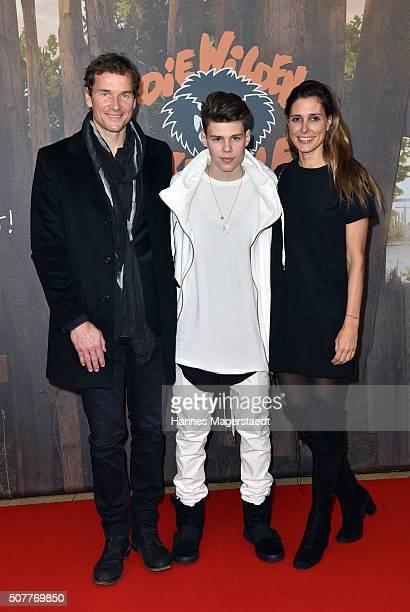 Jens Lehmann and his wife Conny Lehmann and son Mats Lehmann during 'Die Wilden KerleDie Legende Lebt' Premiere at Mathaeser Filmpalast on January 31...