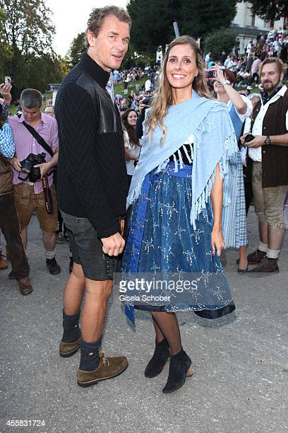 Jens Lehmann and his wife Conny Lehmann attend 'Laureus Wiesn' during Oktoberfest Opening at Theresienwiese on September 20, 2014 in Munich, Germany.
