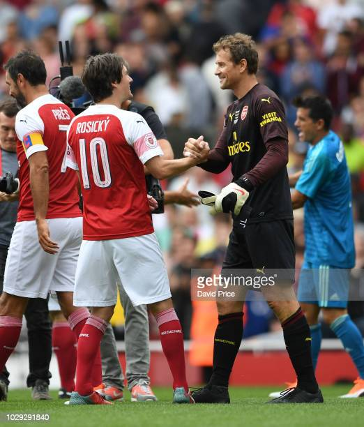 Jens Lehmann and Tomas Rosicky of Arsenal after the match between Arsenal Legends and Real Madrid Legends at Emirates Stadium on September 8, 2018 in...