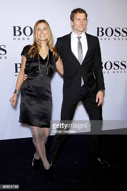 Jens Lehmann and wife Conny Lehmann arrive at the BOSS Black Fashion Show during the Mercedes-Benz Fashion Week Berlin Autumn/Winter 2010 at the...
