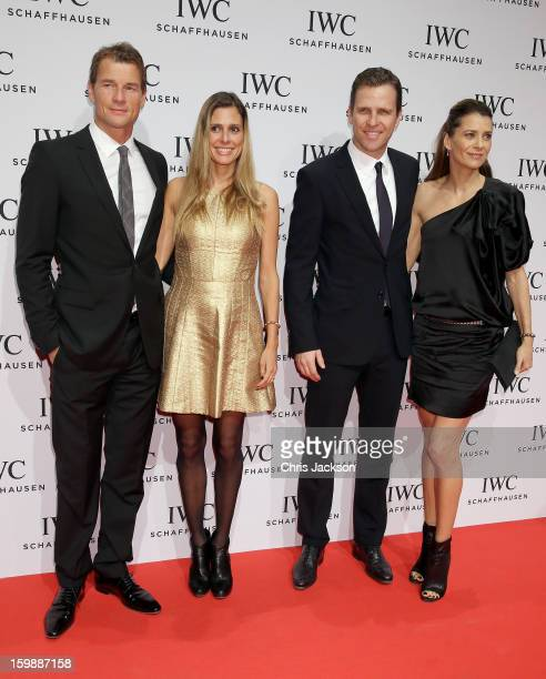 Jens Lehmann, Conny Lehmann, Oliver Bierhoff and Klara Szalantzy attend the IWC Schaffhausen Race Night event during the Salon International de la...