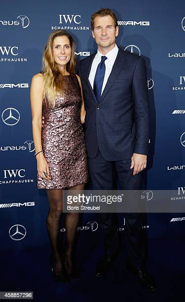 Jens Lehmann, former football player pose with his wife Conny prior to the Laureus Media Award 2014 at Grand Hyatt Hotel on November 12, 2014 in...