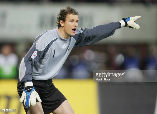Jens Lehmann goalkeeper of Germany gives instructions during the friendly match between Austria and Germany at the Ernst Happel stadium on February...