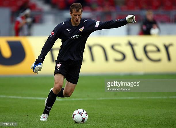 Jens Lehmann goalkeeper of Stuttgart kicks the ball up field during the Bundesliga match between VfB Stuttgart and Bayer Leverkusen at the...