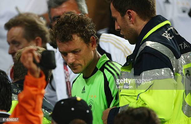 Jens Lehmann is pictured with medical staff in the stands after the UEFA EURO 2008 Quarter Final match between Portugal and Germany at St. Jakob-Park...