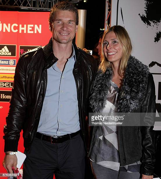Jens Lehmann is seen with his wife Conny during the Oliver Kahn Farewell Gala at the German Theater tent on September 2, 2008 in Munich, Germany.