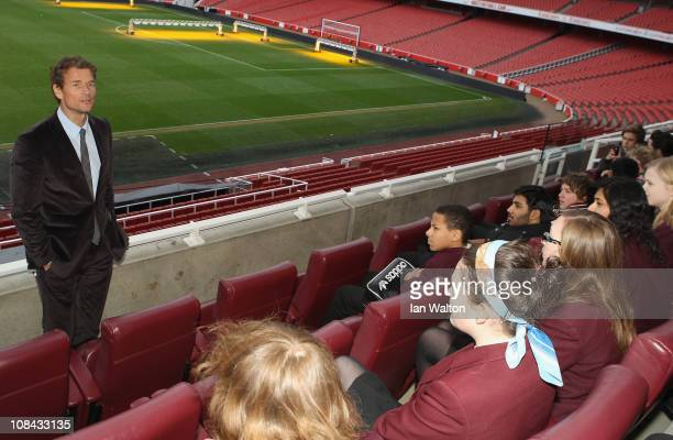 Jens Lehmann meets and speaks to children during a visit of the Emirates Stadium on a London City Tour as part of the Germany 2011 FIFA Women's World...