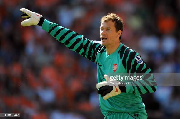 Jens Lehmann of Arsenal in action during the Barclays Premier League match between Blackpool and Arsenal at Bloomfield Road on April 10 2011 in...