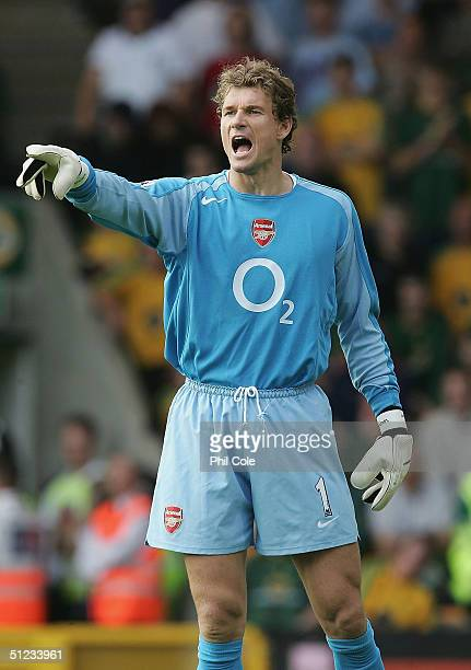 Jens Lehmann of Arsenal in action during the Barclays Premiership match between Norwich City and Arsenal at Carrow Road on August 28 2004 in Norwich...