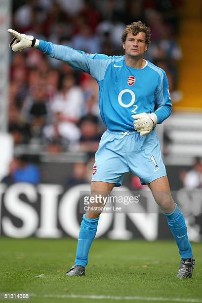 Jens Lehmann of Arsenal in action during the Barclays Premiership match between Fulham and Arsenal at Craven Cottage on September 11 2004 in London