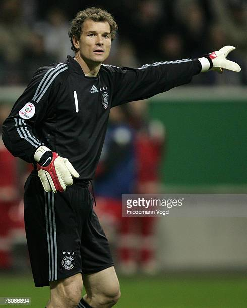 Jens Lehmann of Germany gives advise to his players during the UEFA Euro2008 Group D qualifying match between Germany and Wales at the Commerzbank...