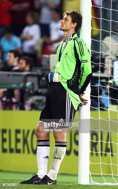Jens Lehmann of Germany looks dejected after the UEFA EURO 2008 Final match between Germany and Spain at Ernst Happel Stadion on June 29, 2008 in...
