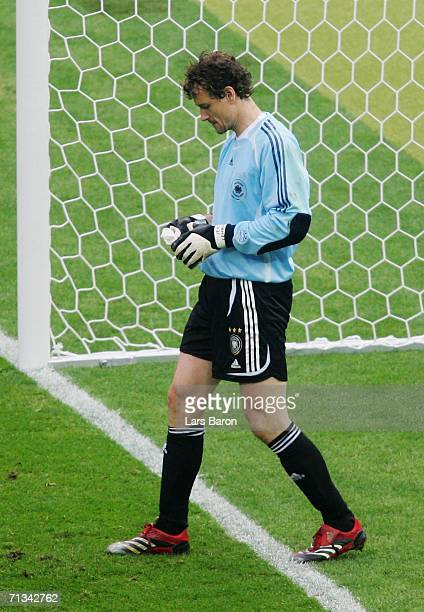 Jens Lehmann of Germany prepares to face a penalty in a penalty shootout during the FIFA World Cup Germany 2006 Quarterfinal match between Germany...