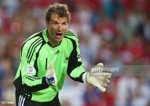 Jens Lehmann of Germany shouts during the UEFA EURO 2008 Semi Final match between Germany and Turkey at St JakobPark on June 25 2008 in Basel...