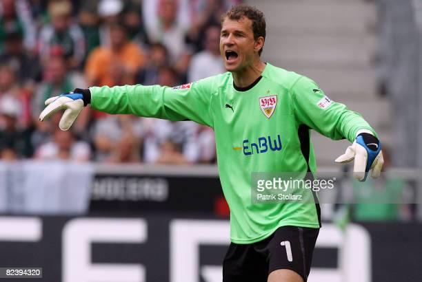 Jens Lehmann of Stuttgart gestures during the Bundesliga match between Borussia Moenchengladbach and VfB Stuttgart at the Borussia-Park on August 17,...