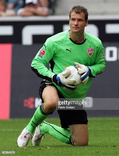 Jens Lehmann of Stuttgart holds the ball during the Bundesliga match between Borussia Moenchengladbach and VfB Stuttgart at the Borussia-Park on...