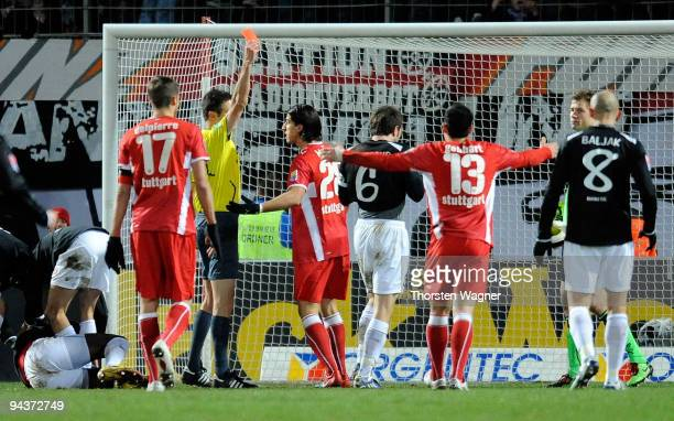 Jens Lehmann of Stuttgart is shown the red card from referee Wolfgang Stark during the Bundesliga match between FSV Mainz 05 and VFB Stuttgart at...