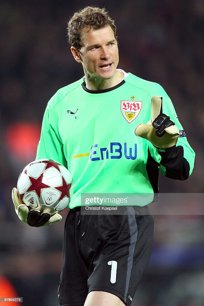 Jens Lehmann of Stuttgart looks angry during the UEFA Champions League round of sixteen second leg match between FC Barcelona and VfB Stuttgart at the Camp Nou stadium on March 17, 2010 in Barcelona, Spain. Stuttgart lost against barcelona 0-4.