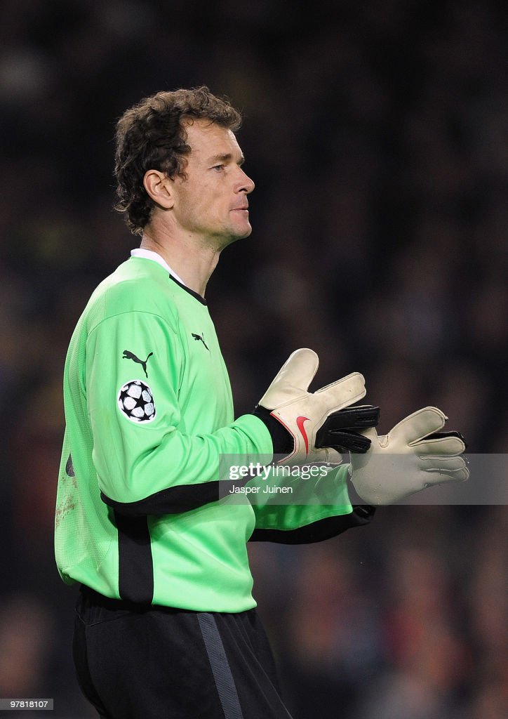 Jens Lehmann of Stuttgart looks on during the UEFA Champions League round of sixteen second leg match between FC Barcelona and VfB Stuttgart at the Camp Nou stadium on March 17, 2010 in Barcelona, Spain. Barcelona won the match 4-0.