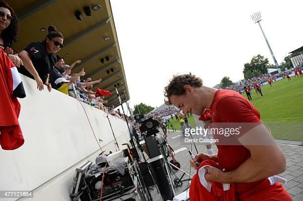 Jens Lehmann signing autographs at GAZIStadion on June 14 2015 in Stuttgart Germany