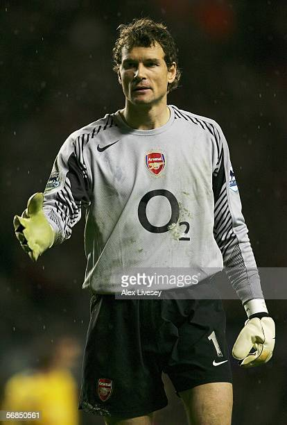 Jens Lehmann the Arsenal Goal Keeper looks on during the Barclays Premiership match between Liverpool and Arsenal at Anfield on February 14 2006 in...