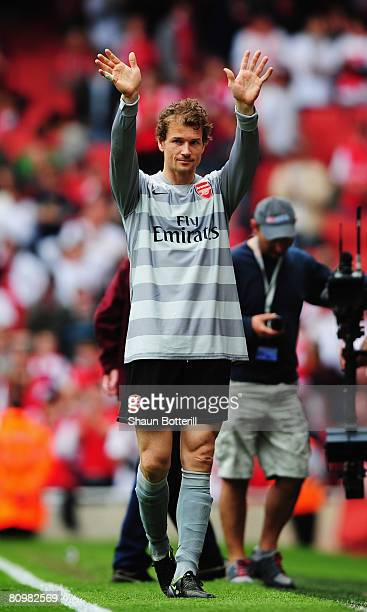 Jens Lehmann the Arsenal goalkeeper acknowledges the crowd after playing what is expected to be his last home game in the Barclays Premier League...