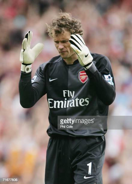 Jens Lehmann the Arsenal goalkeeper shows his disappointment during the Barclays Premiership match between Arsenal and Aston Villa at The Emirates...