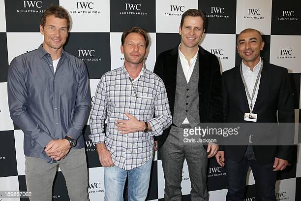 Jens Lehmann, Thomas Kretschmann, Oliver Bierhoff and Roberto Di Matteo visit the IWC booth during the Salon International de la Haute Horlogerie...