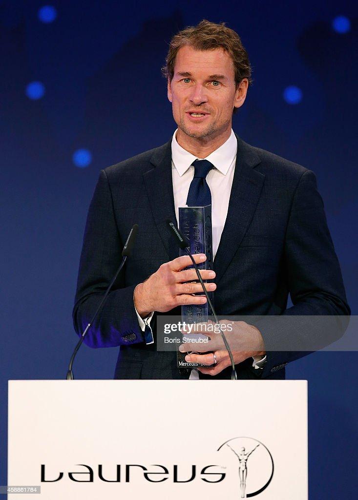 Jens Lehmann, winner of the Laureus award for the biggest commitment for Laureus attends the Laureus Media Award 2014 at Grand Hyatt Hotel on November 12, 2014 in Berlin, Germany.