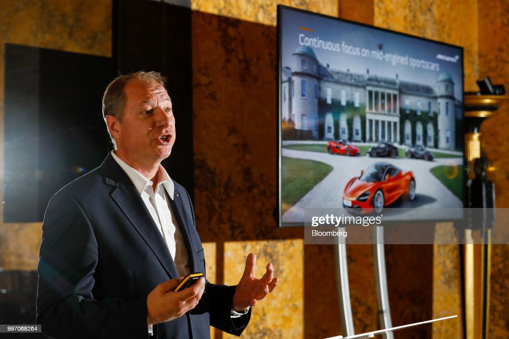 Jens Ludmann, chief operating officer of McLaren Automotive Ltd, speaks during a news conference at the Goodwood Festival of Speed near Chichester, U.K., on Thursday, July 12, 2018. Formula 1 race team and supercar makerMcLarenis aiming to win over wealthy drivers keen to prove themselves on the track with its latest model -- the 185,500-pound ($250,000) circuit-ready 600LT. Photographer: Luke MacGregor/Bloomberg via Getty Images