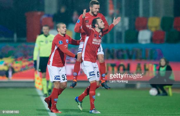 Jens Martin Gammelby and Casper Sloth of Silkeborg IF celebrate after scoring their second goal during the Danish Alka Superliga match between...