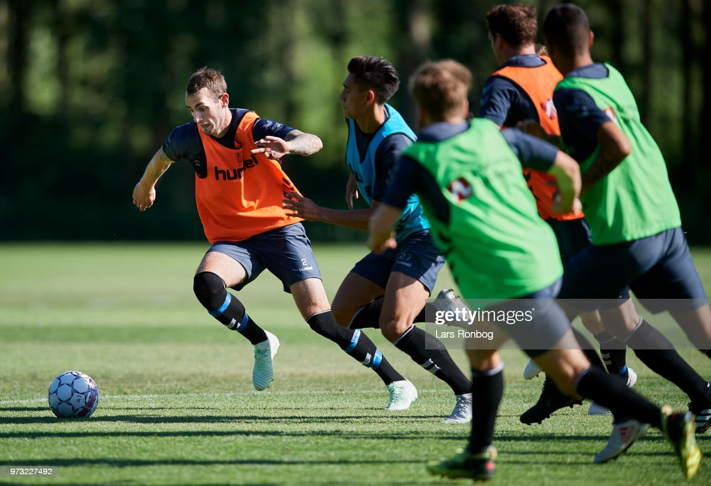 Jens Martin Gammelby of Brondby IF in action during the Brondby IF training session at Brondby Stadion on June 13, 2018 in Brondby, Denmark.