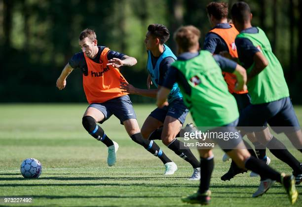Jens Martin Gammelby of Brondby IF in action during the Brondby IF training session at Brondby Stadion on June 13 2018 in Brondby Denmark