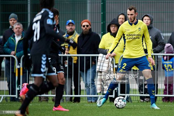 Jens Martin Gammelby of Brondby IF in action during the testmatch between Brondby IF and SonderjyskE at Brondby Stadion on February 10, 2020 in...