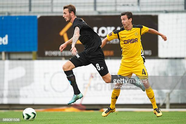 Jens Martin Gammelby of Silkeborg IF and Conor S O'Brien of AC Horsens compete for the ball during the Danish Alka Superliga match between AC Horsens...