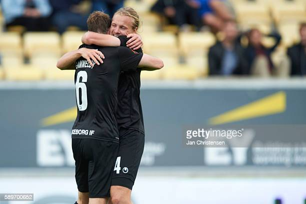 Jens Martin Gammelby of Silkeborg IF and Simon Jakobsen of Silkeborg IF celebrate after the 33 goal from Jens Martin Gammelby of Silkeborg IF during...