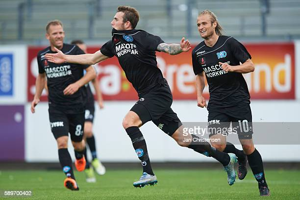 Jens Martin Gammelby of Silkeborg IF celebrate after his 33 goal during he Danish Alka Superliga match between AC Horsens and Silkeborg IF at Casa...