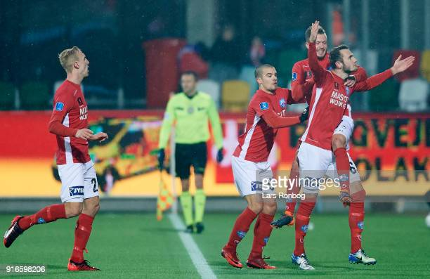 Jens Martin Gammelby of Silkeborg IF celebrates after scoring their second goal during the Danish Alka Superliga match between Silkeborg IF and AaB...