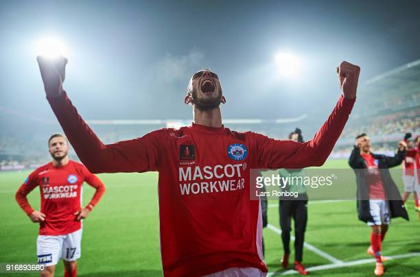 Jens Martin Gammelby of Silkeborg IF celebrates after the Danish Alka Superliga match between Silkeborg IF and AaB Aalborg at Jysk Park on February...