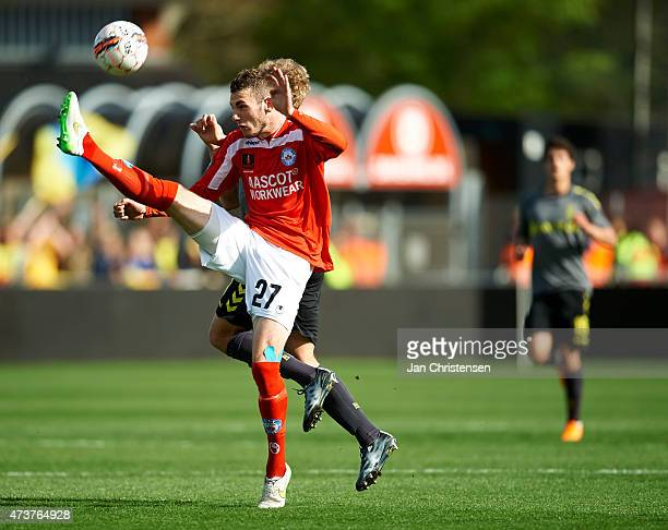 Jens Martin Gammelby of Silkeborg IF compete for the ball during the Danish Alka Superliga match between Silkeborg IF and Brondby IF at Mascot Park...
