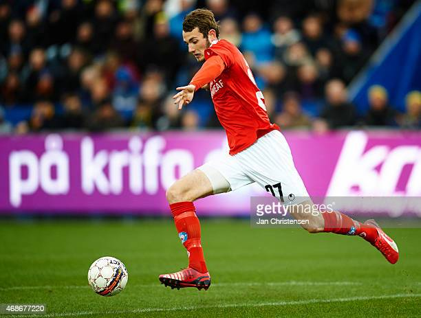 Jens Martin Gammelby of Silkeborg IF controls the ball during the Danish Alka Superliga match between Hobro IK and Silkeborg IF at DS Arena on April...