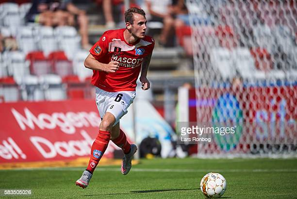 Jens Martin Gammelby of Silkeborg IF controls the ball during the Danish Alka Superliga match between Silkeborg IF and Brondby IF at Mascot Park on...