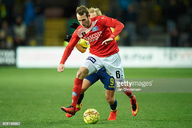Jens Martin Gammelby of Silkeborg IF controls the ball during the Danish Alka Superliga match between Brondby IF and Silkeborg IF at Brondby Stadion...