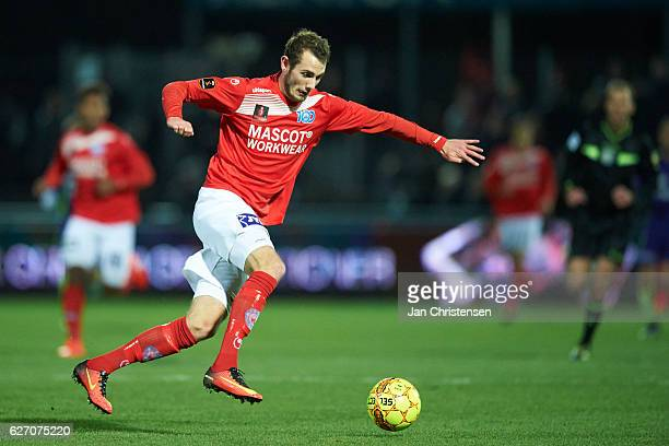 Jens Martin Gammelby of Silkeborg IF controls the ball during the Danish Alka Superliga match between Silkeborg IF and FC Midtjylland at Mascot Park...
