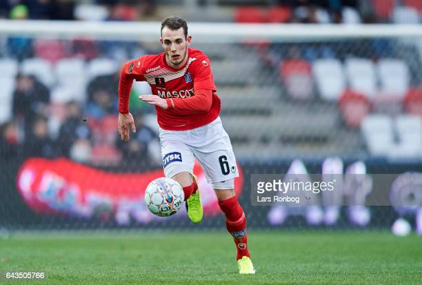 Jens Martin Gammelby of Silkeborg IF controls the ball during the Danish Alka Superliga match between Silkeborg IF and AC Horsens at Mascot Park on...