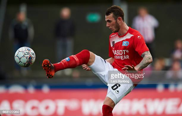 Jens Martin Gammelby of Silkeborg IF controls the ball during the Danish Alka Superliga match between Silkeborg IF and AaB Aalborg at Mascot Park on...