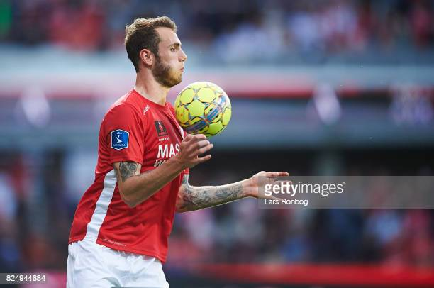 Jens Martin Gammelby of Silkeborg IF controls the ball during the Danish Alka Superliga match between Silkeborg IF and AGF Aarhus at Jysk Park on...