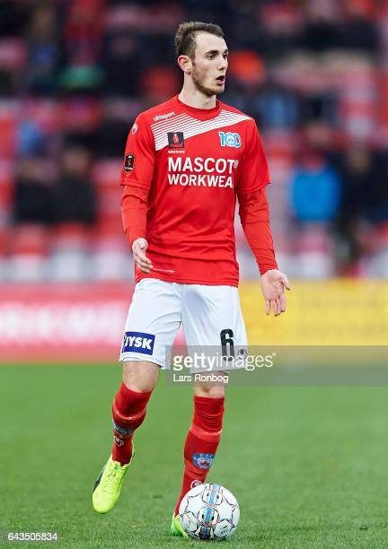 Jens Martin Gammelby of Silkeborg IF gestures during the Danish Alka Superliga match between Silkeborg IF and AC Horsens at Mascot Park on February...