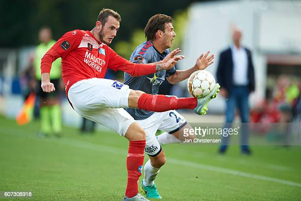 Jens Martin Gammelby of Silkeborg IF in action during the Danish Alka Superliga match between Silkeborg IF and AGF Arhus at Mascot Park on September...